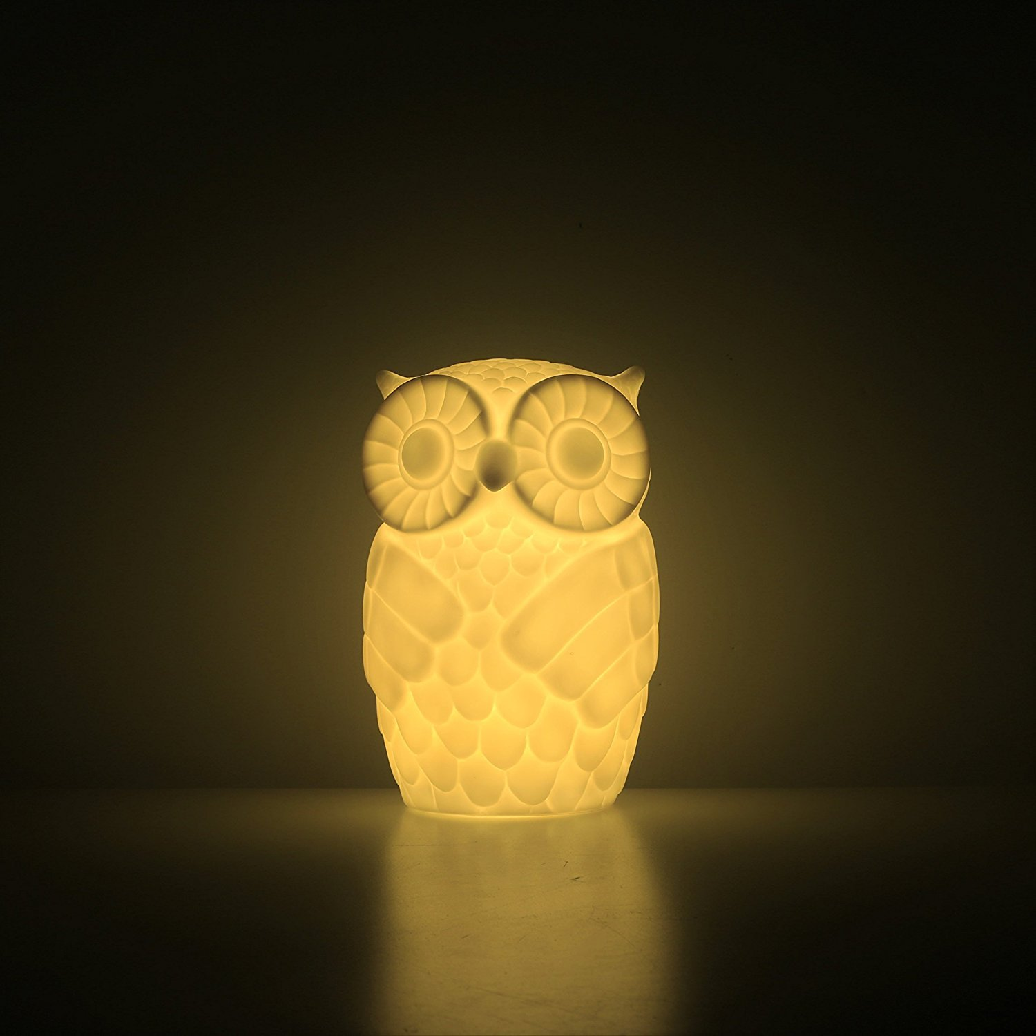 Mojocraft Serenity the Owl Battery/USB Powered Decorative Claylike Night Light with Timer, Warm White