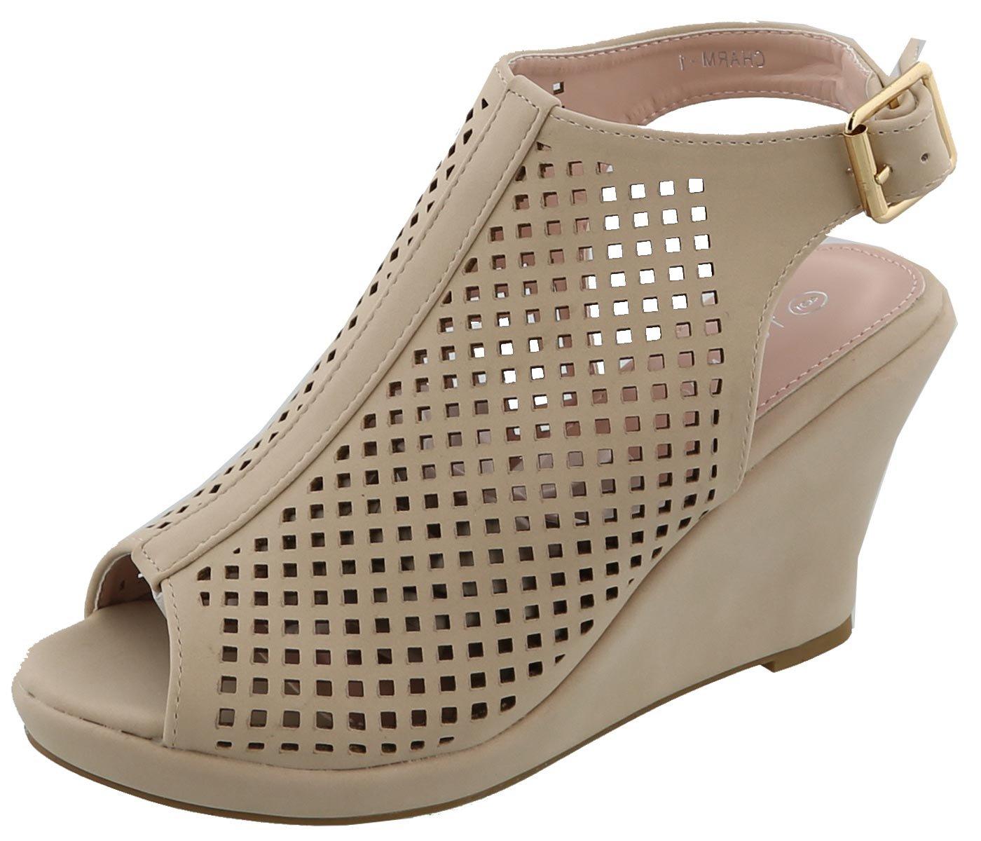 Top Moda Women's Laser Cut Slingback Peep Toe Wedge Bootie Sandal (7 B(M) US, Blush)