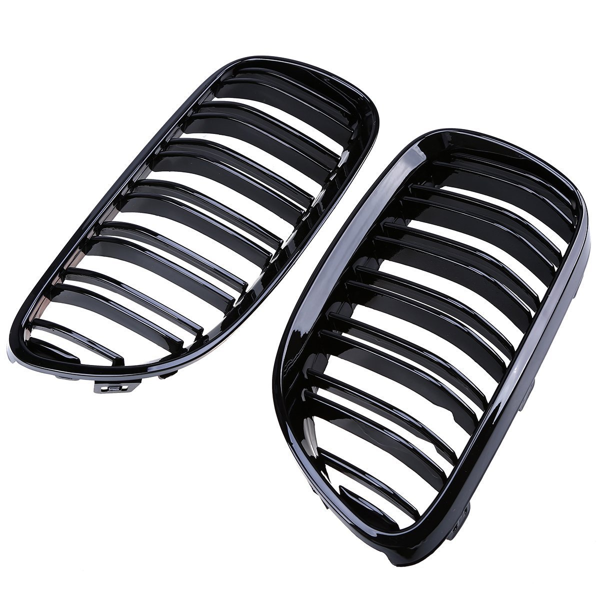 E92 E93 Front Grill Kidney Grille, Double-line Glossy Black, 2pcs POSSBAY