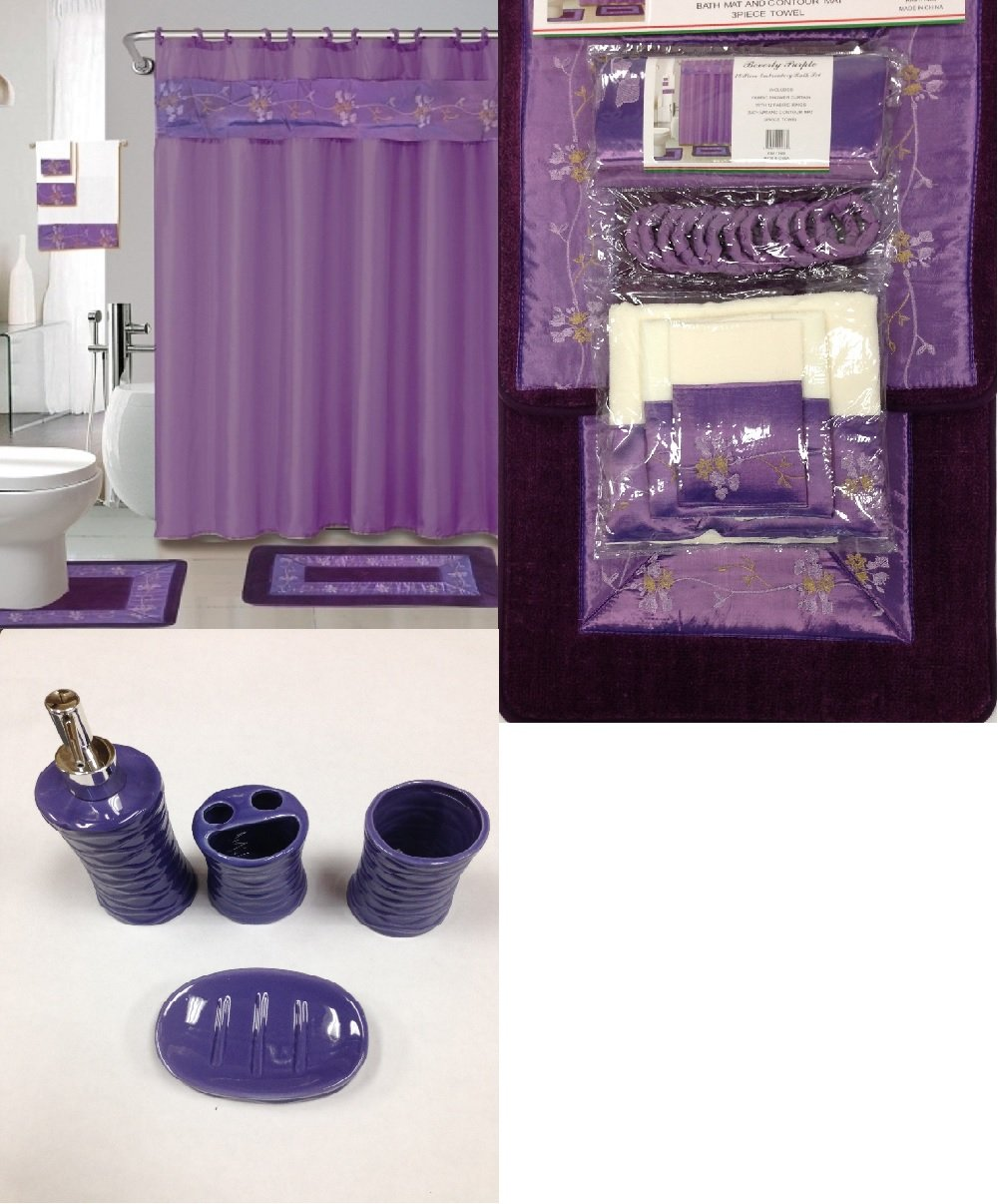 Amazon Com 22 Piece Bath Accessory Set Purple Flower Bath Rug Set