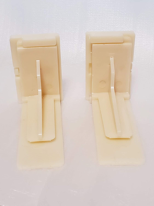1 KT HRUSEADJA Rear Drawer Track Sockets Mounting Back Plates Brackets Sold in Pair Plastic Almond