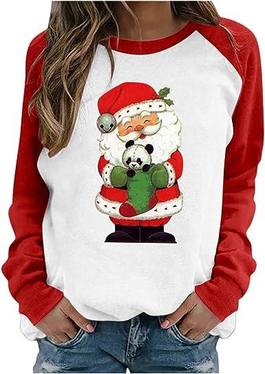 Jersey de Talla Grande para Mujer 2020 Moda Mujer Navidad muñeco de Nieve Estampado pulóver Manga Larga Suelta Cuello Redondo Sudadera Camisas Tops ...