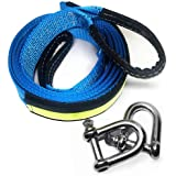 Abschleppseil 5 cm x 5 m, 17,600 lbs (8 Tonnen)  Recovery Tow Strap Kit- Für Off-Road Recovery & Abschleppen - Premium Heavy Duty - Polyester - Weather Resistant - Verstärkte Looped Ends - 2 Safety Hooks