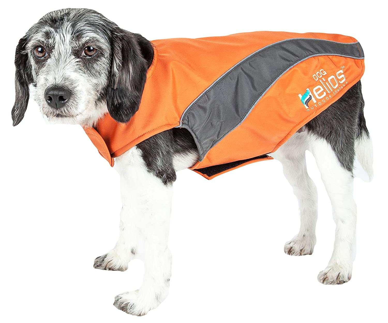 orange, Grey X-SMALL orange, Grey X-SMALL DOGHELIOS 'High Octane' Softshell Neoprene Polar Fleece Reflective Performance Pet Dog Coat Jacket w Blackshark Technology, X-Small, orange, Grey