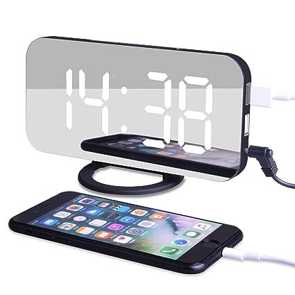 EVILTO Despertador Digital Espejo LED Despertador Electrónico, Espejo Reloj Digital Moderno con Función de Alarma y Dual USB Puertos, Snooze y Memoria ...