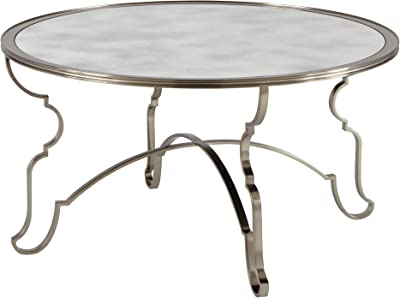 Kathy Kuo Home Francique Regency Silver Antique Glass Steel Trellis Coffee Table