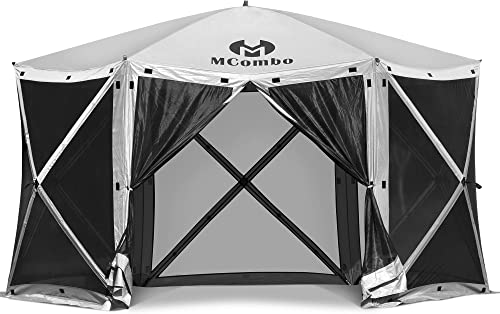 MCombo Gazebo Tent 60 Seconds Pop-Up Portable 6-Sided Hub Durable Screen Tent Netted Gazebo/Screen Tent Rain Protection Party Waterproof Gazebo Pavilion 6052 Tent 6pc
