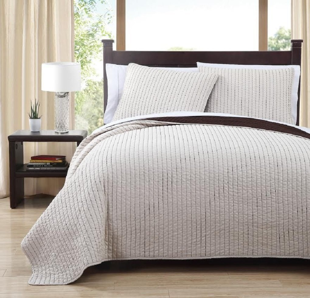 Royal Hotel Project/Runway Queen Size Quilt, Ivory and Toffee 90X90 Inches Coverlet 3pc set, Luxury 100% Microfiber Embroidered Quilt by
