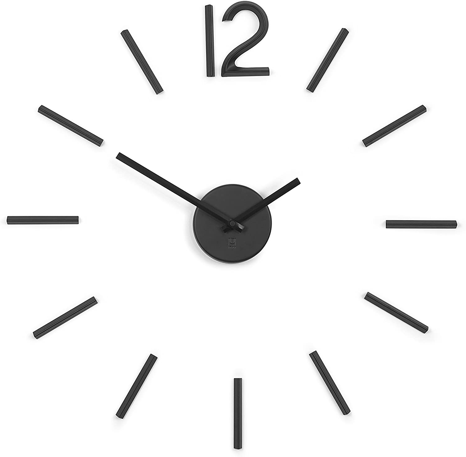 Umbra 1005400-040 Blink Wall Clock Black - Easy to Paste Wall Sticker Numbers, Frameless Large Decorative Wall Clock, Simple Indicators, Minimalist, Black,39.25 Inch L x 39.25 Inch W x 1.38 Inch H