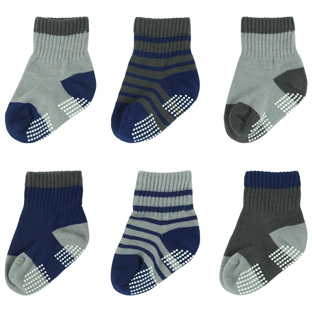 BABIBEAN Baby Boy's Cute Comfortable Toddler Slipper Socks Low Cut Non-skid Anti slip Shoe Socks 12-24 Months 6 Pairs