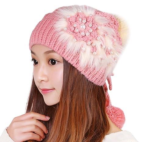 Fashion Women Winter Knit Crochet Plush Hat Beanie with Pom Pom Ski Cap Earmuffs  Knitting Hat 933bfe5c128c