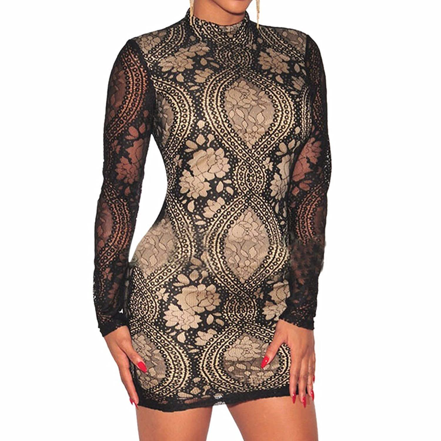 Women Charm Long Sleeve Crochet Lace Floral Stand Collar Party Short Dresses