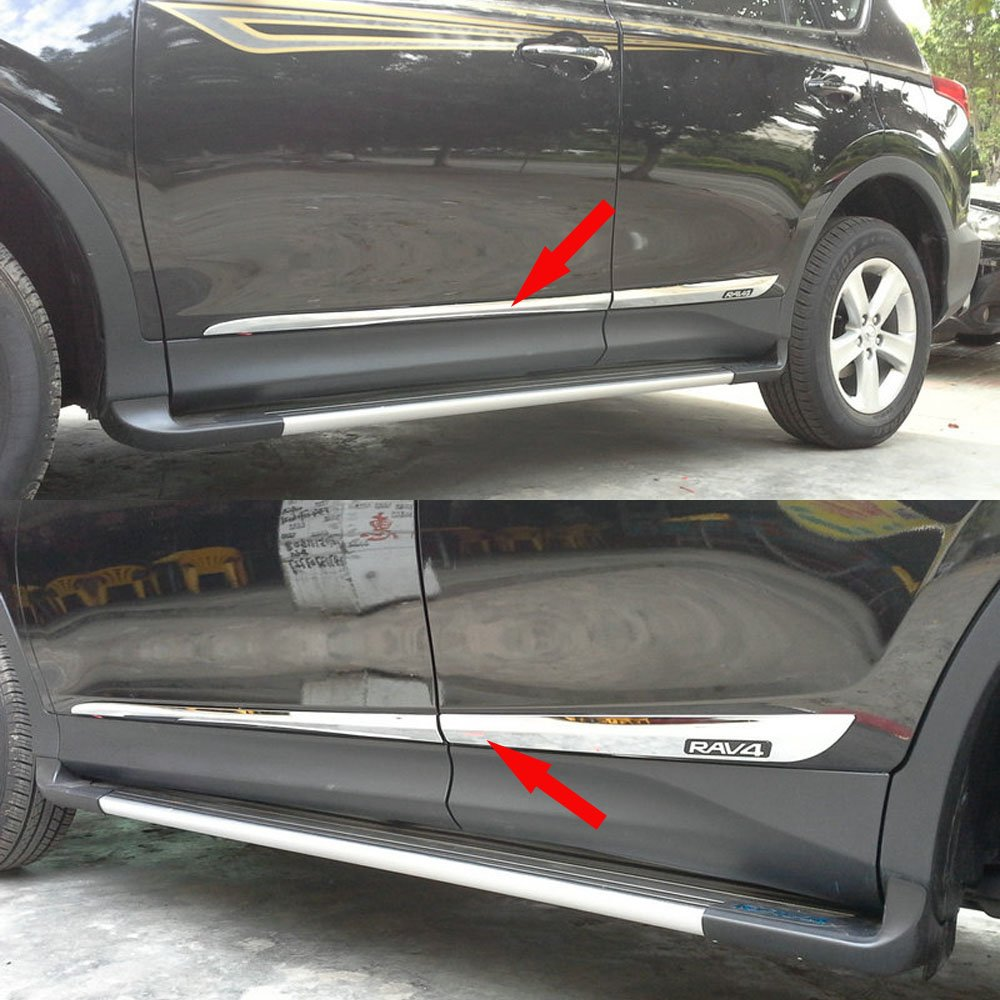 Amazon.com Chrome Body Side Door Moulding Trim Overlay Cover For Toyota RAV4 2014 Automotive & Amazon.com: Chrome Body Side Door Moulding Trim Overlay Cover For ...