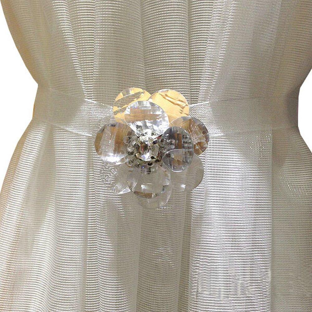 Ayygift Elegant Crystal Flower Magnetic Curtain Rope Tieback Wrap Holdbacks - Set of 2 Gem Collection Boxed (Gem-B) EleCharm