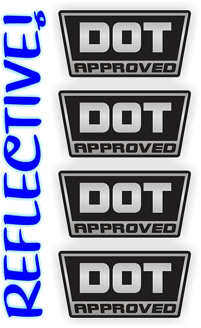 (4) REFLECTIVE - DOT Approved Motorcycle Helmet Stickers Decals | Hard Hat Labels | Set of 4