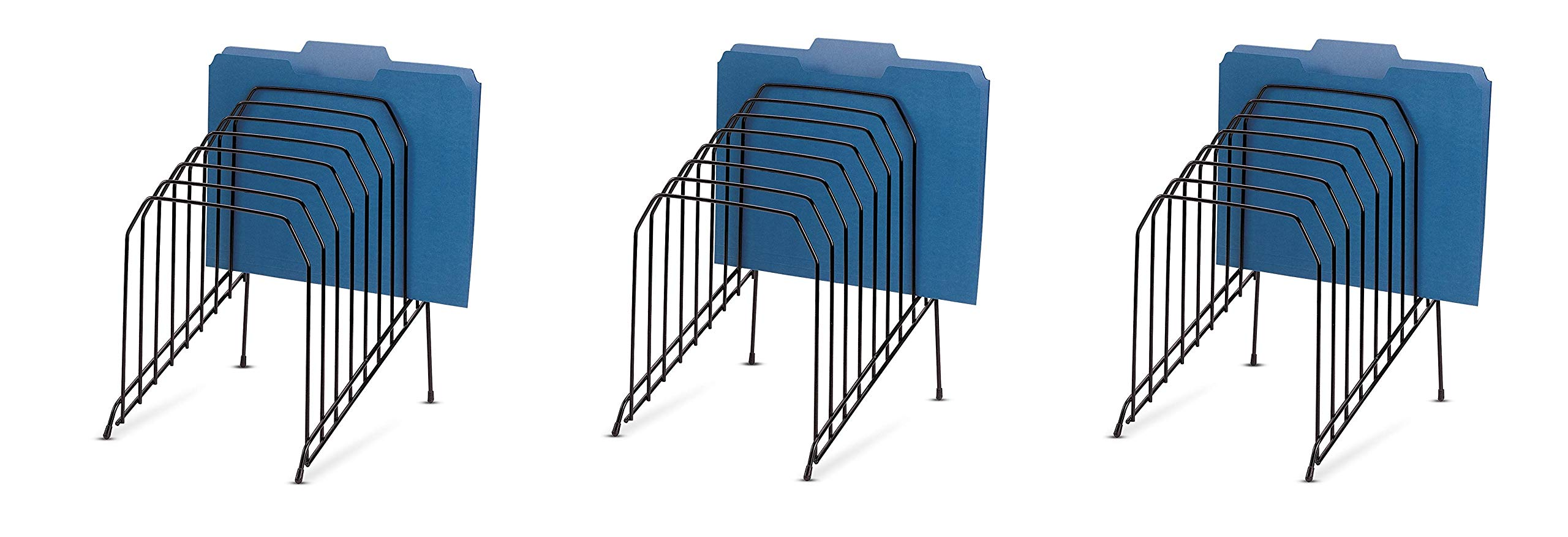 Officemate Large Incline Sorter, 8 Compartment, Wire, 8.5 x 10.375 x 12.625 Inches, Black (25212) (Pack of 3)