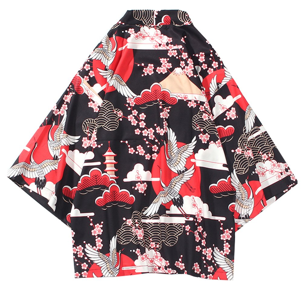 LifeHe Men's Japan Crane Kimono Cardigan Casual Open Front Coat Shirt (Red, L)