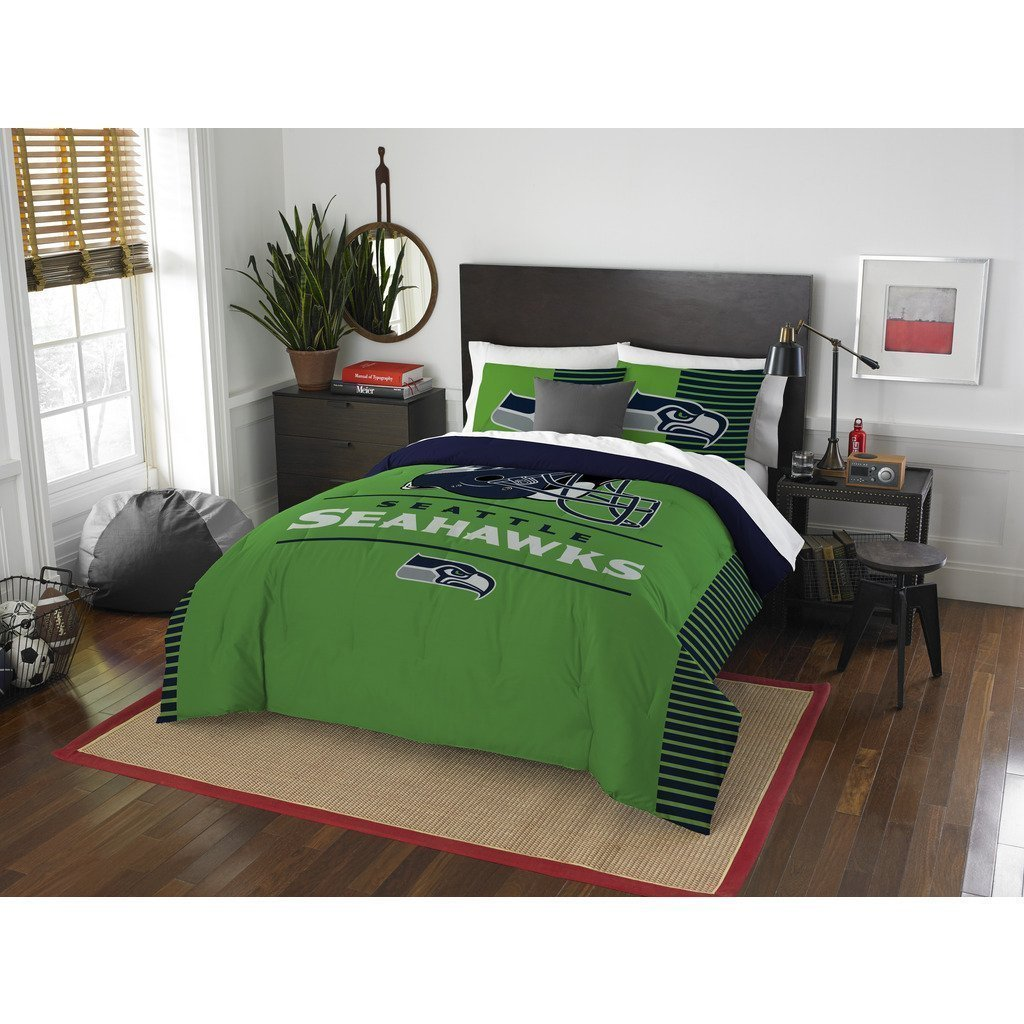 Seattle Seahawks Comforter Set Bedding Shams NFL 3 Piece Full-Queen Size 1 Comforter 2 Shams Football Linen Applique Bedroom Decor Imported Sold and Shipped byMBG.4u.