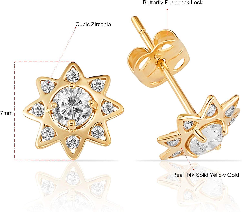 Women//Children/'s Stylish 14K Solid Yellow Gold 6MM Heart Stud Earrings PushBack