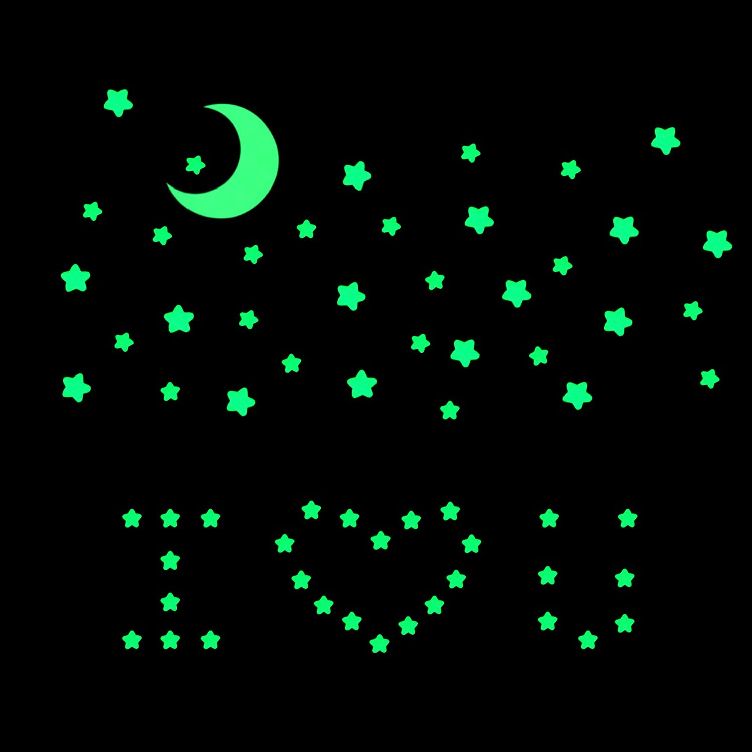 Oumers 4 Packs of Adhesive Wall Ceiling Decals for Baby Kids Bedroom Nursery Home Glow in The Dark Stars Moon