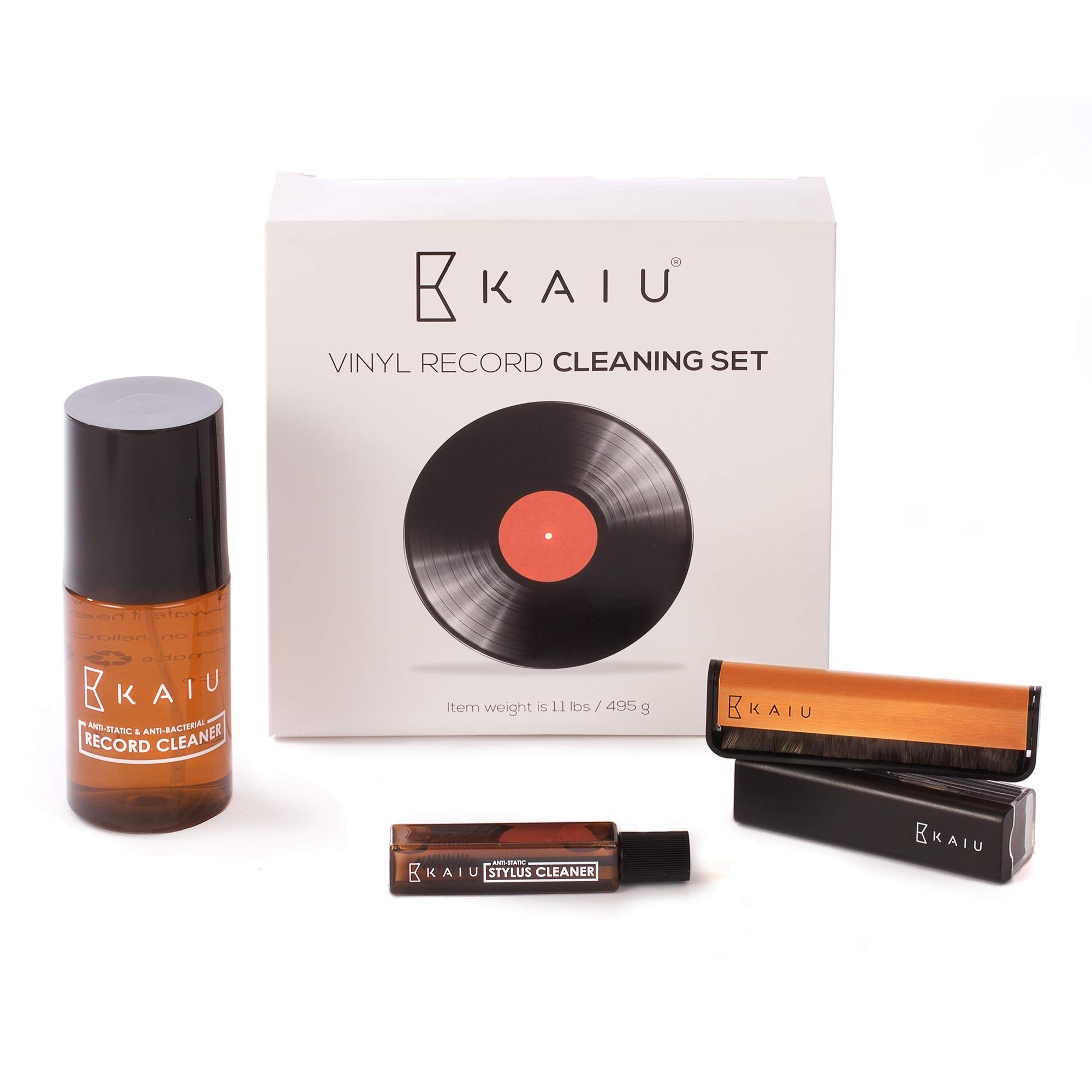 Vinyl Record Cleaning Kit by KAIU - 5-in-1 Record Cleaning Solution, Stylus Cleaner, Carbon and Velvet Brush & Microfiber Cloth - Premium LP Maintenance Set to Keep Your Vinyl Records Like New by KAIU