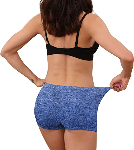 R RUXIA Womens Boyshorts Panties Seamless Underwear Stretch Light Weight Essential Boxer Brief Panty 5 Pack