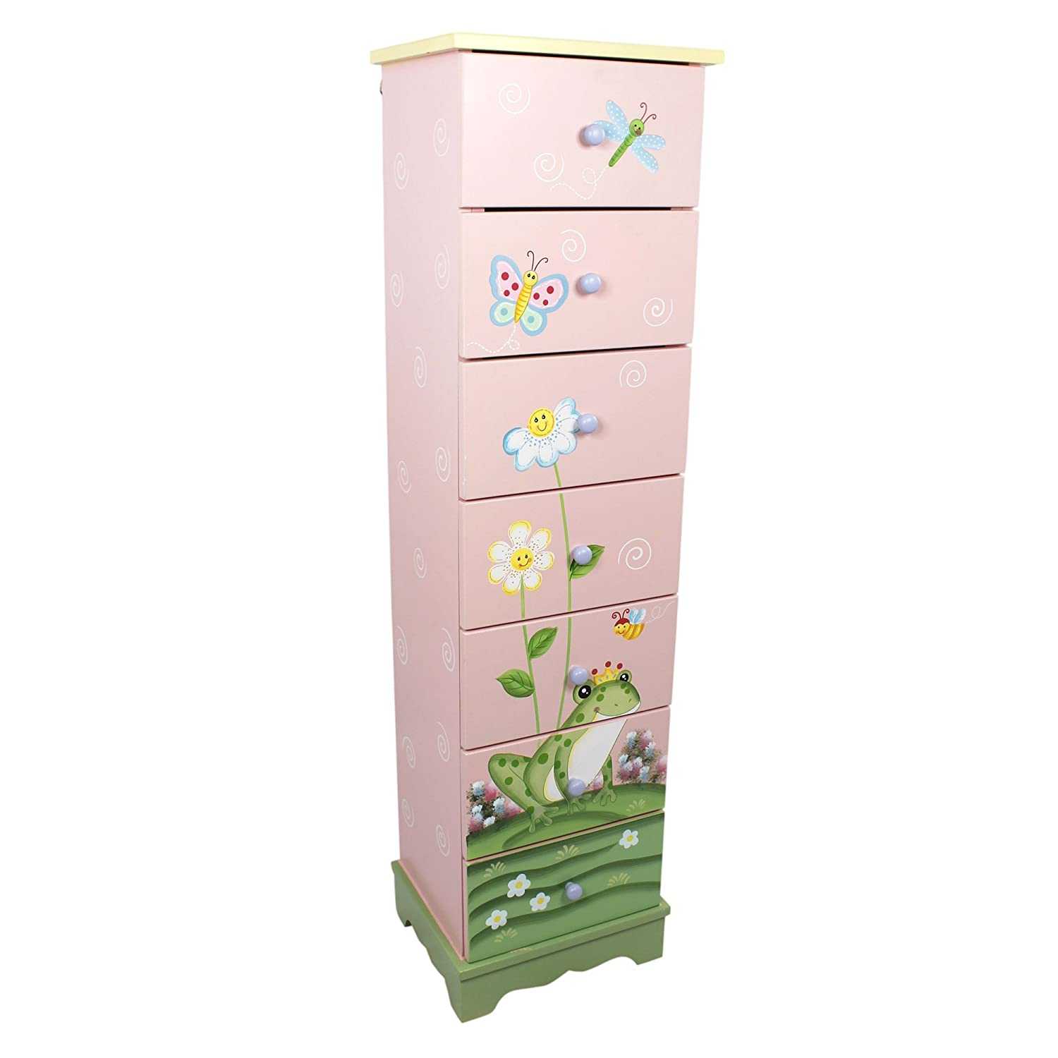 Fantasy Fields - Enchanted Woodland themed Wooden 5 Drawer Storage Unit Cabinet for Kids |  Hand Crafted & Painted Details | Child Friendly Water-based Paint Teamson TD-11736A