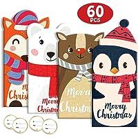 Lot de 60 cartes cadeaux de Noël, porte-monnaie, motifs holographiques, 20 cartes, 20 enveloppes, 20 autocollants.