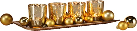 Portacandele con quattro bicchierini e vassoio decorazione color oro