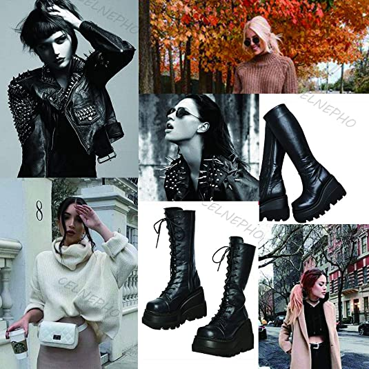 Details about  /Womens Fashion Round Toe Side Zipper Over Knee Boots Pumps High Heels Shoe Fgg01