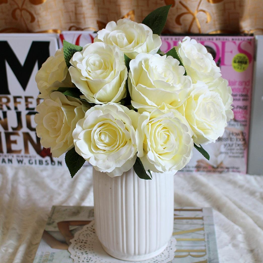 Anglewolf 1pcs Artificial Silk Fake Flowers Roses Floral Wedding