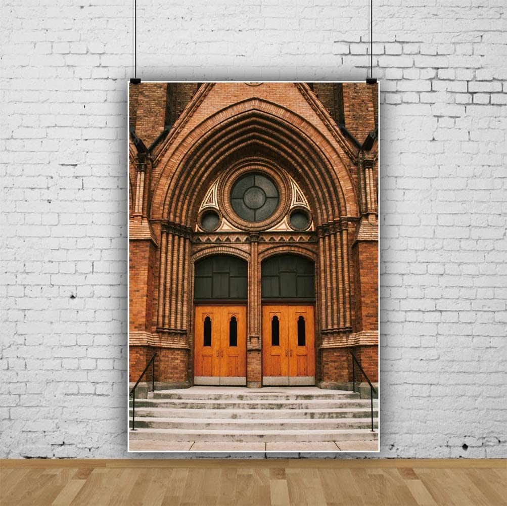 YEELE Old Building Entry Backdrop 8x10ft Red Brick Wall Photography Background European Architecture Pictures Kids Adults Portrait Photoshoot Studio Props Digital Wallpaper