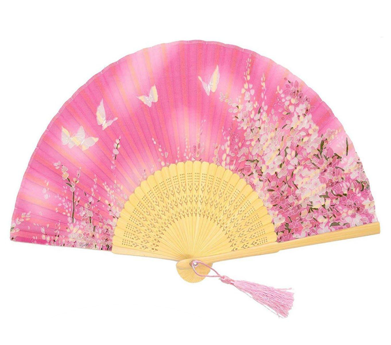 Amazon.com: Weisu Chinese/Japanese Handmade Silk Folding Hand Fan ...