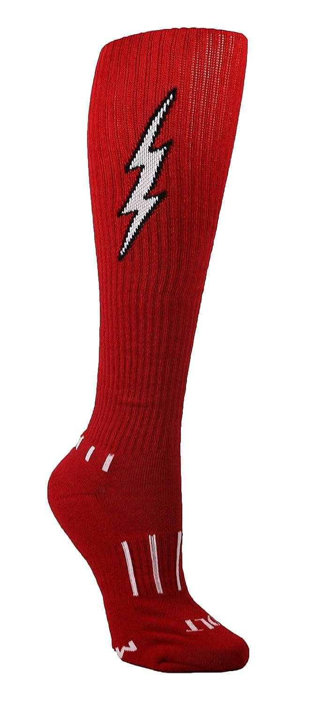 MOXY Socks 6-Pack Youth Red with Black Knee-High Insane Bolt Soccer Socks