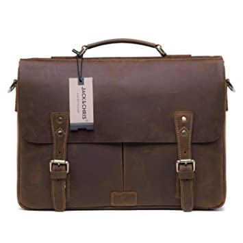 Amazon.com  Jack Chris Men s Leather Briefcase Messenger Bag Laptop  Crossbody Shoulder Bag 2850ac012cbaa