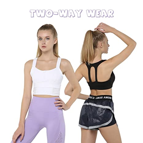 099dbf00bf Snailify Women s Sports Bra Strappy Racerback Full Coverage Long Line  Wireless Fake Two Piece Multi-Way Bra - Yoga Gym Workout  Amazon.it   Abbigliamento