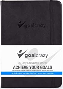 Goal Crazy Undated Planner - 90 Day Guided Journal, Weekly Organization, Productivity Habit Tracker, Inspirational, Life Setting, Black Leather, Almond Pages