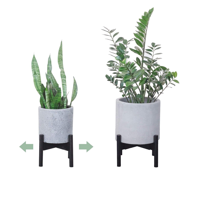 Plant stand modern mid century design adjustable width 9 to 12 indoor plants holder home