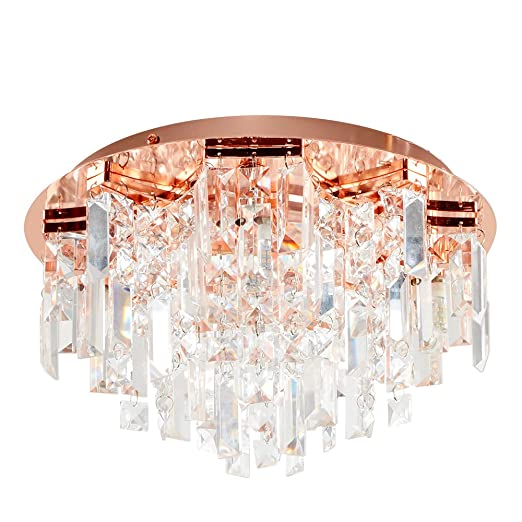 cheap for discount a6e81 45713 Modern Copper 5 Way Lead Crystal Jewel Diamond Effect Droplet Flush Ceiling  Chandelier Fitting