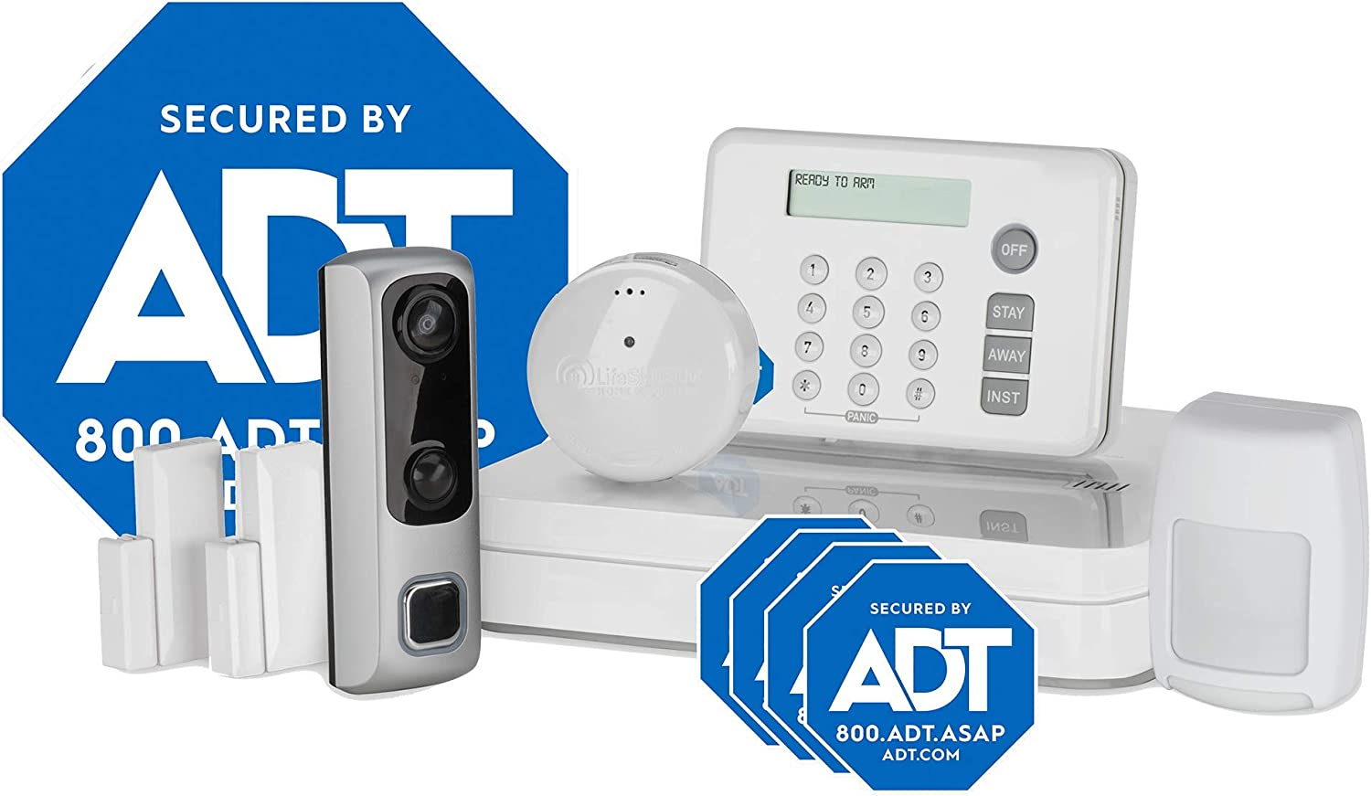 ADT DIY HD Video Doorbell Camera 8-Piece Smart Home Security System - Optional 24/7 Monitoring - No Contract - Wi-Fi Enabled - Alexa Compatible