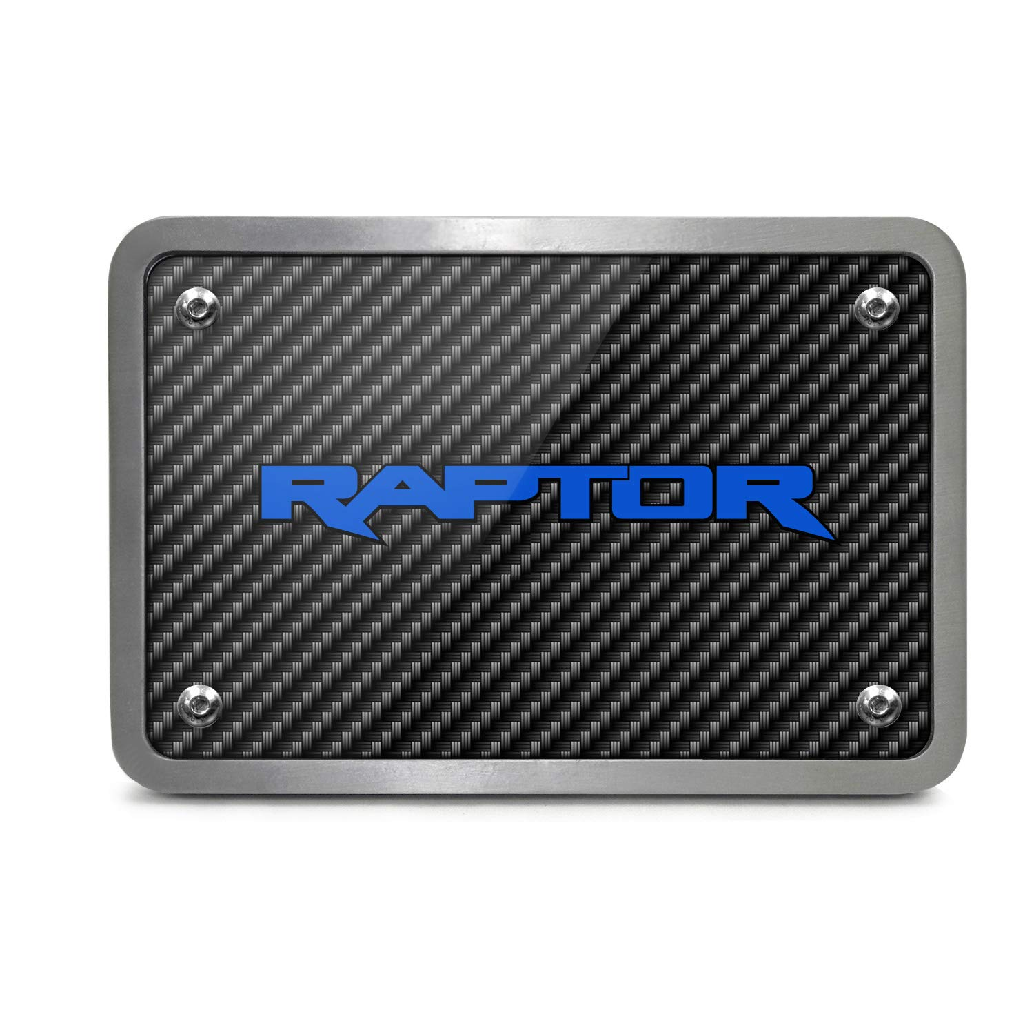 iPick Image Ford F150 Raptor 2017 to 2018 in Blue Black Carbon Fiber Texture Plate Billet Aluminum 2 inch Tow Hitch Cover, Made in USA by iPick Image