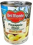 Del Monte PINEAPPLE SLICES in 100% Pineapple Juice 20oz (4 Pack)