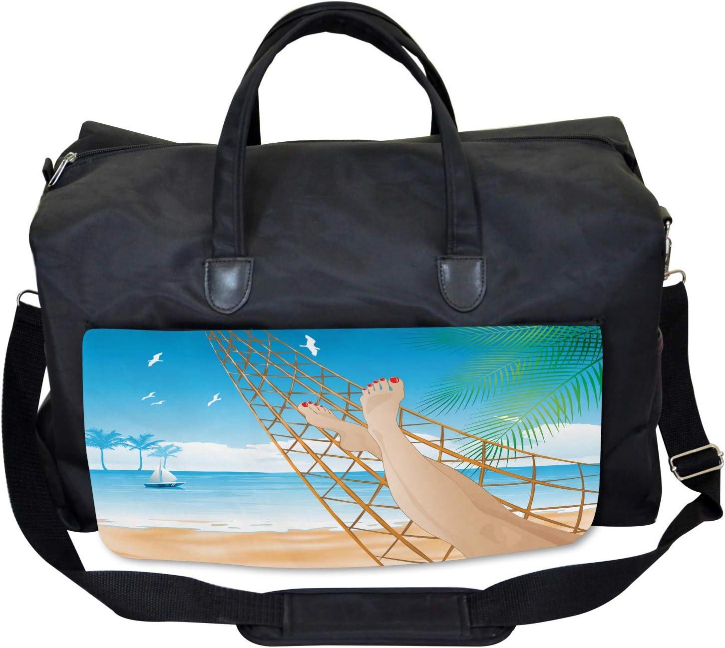 Large Weekender Carry-on Ambesonne Tropical Gym Bag Hawaiian Ocean Hammock