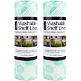 DII Non Adhesive Cut to Fit Machine Washable Shelf Liner Paper For Cabinets, Kitchen Shelves, Drawers, Set of 2, 12 x 10 - Aqua Dahlia
