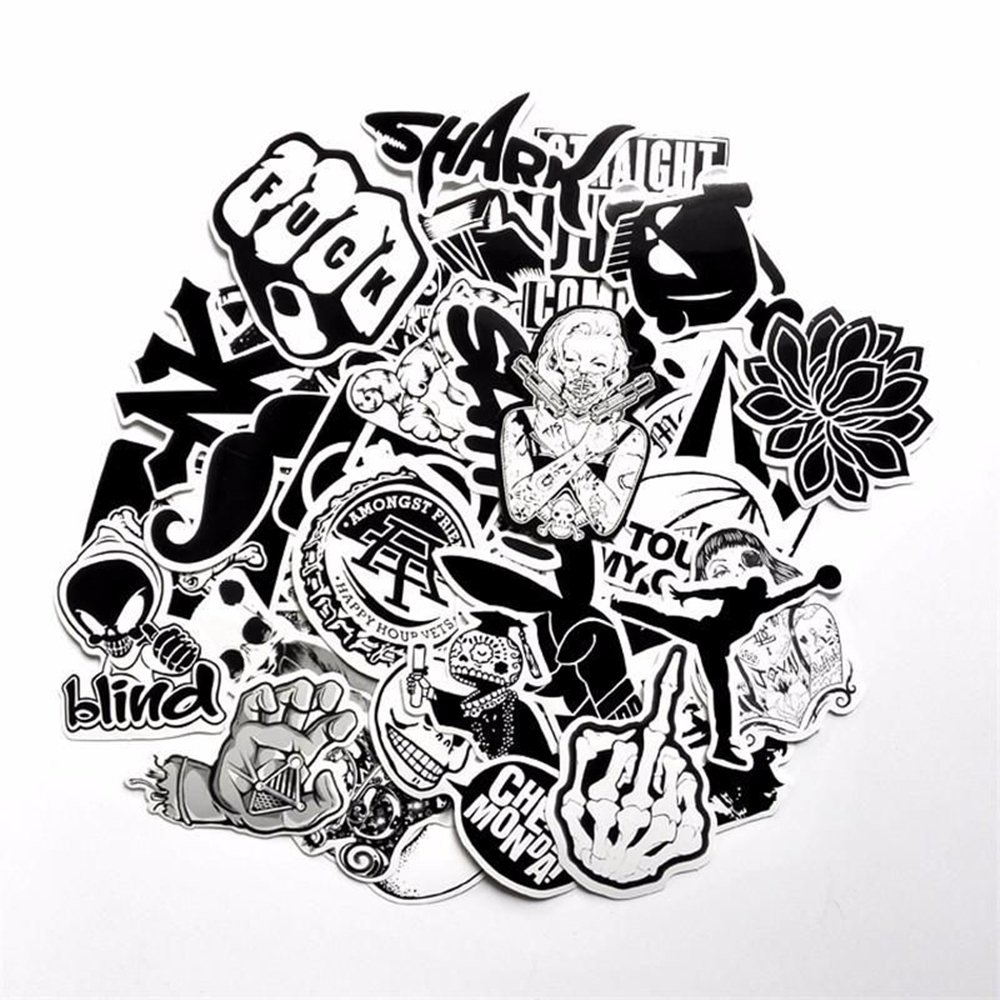 Amazon com the mimis black white vinyl sticker car sticker motorcycle bicycle luggage decal graffiti patches skateboard cool stickers for laptop 60pcs