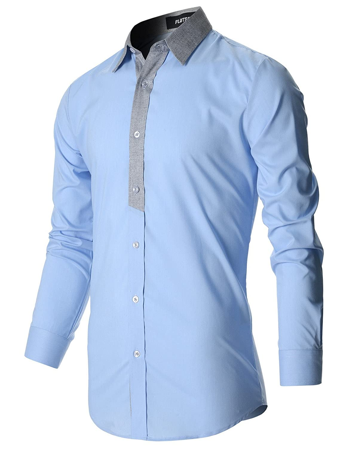 a140823bab043d FLATSEVEN Mens Stylish Casual Shirt Slim Cut at Amazon Men's Clothing store: