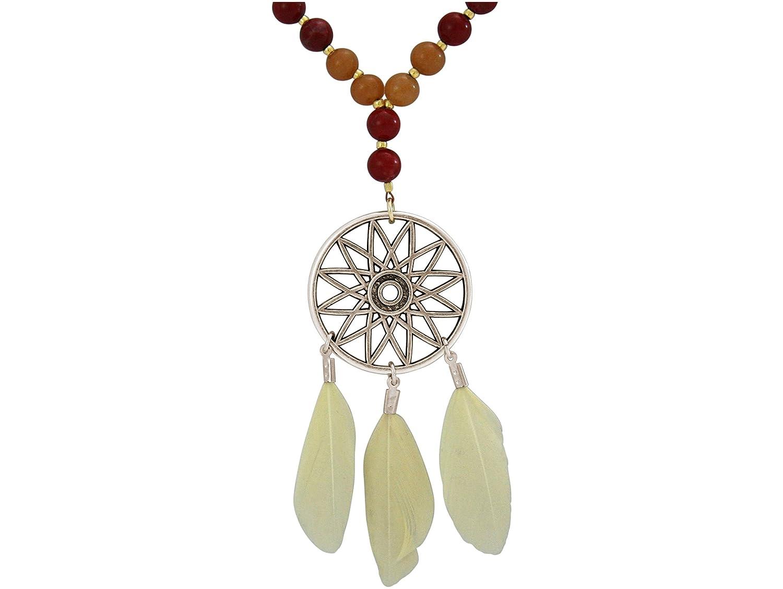 Gemshine Handmade - Halskette - Traumfänger - Gold - Boho - Feder - Terra - Creme - 80 cm HMCindio6