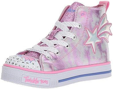 aba6766e643 Skechers Kids Girls  Twinkle LITE-Stellar Starz Sneaker Pink Silver 1  Medium US