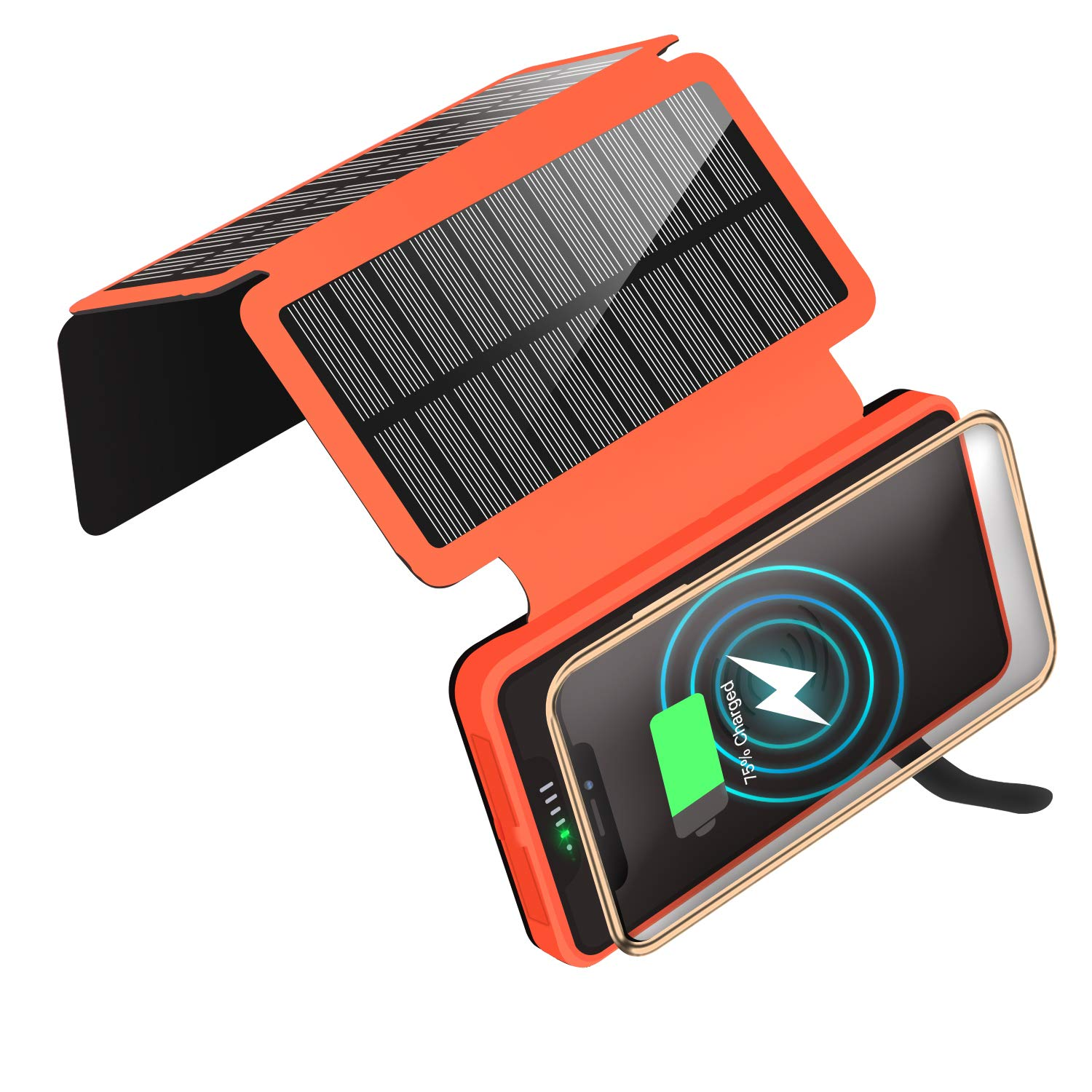 Solar Charger Qi Wireless Charger Portable Solar Power Bank 20000mAh Waterproof Battery Packs with Dual Ports Solar Phone Charger for iPhone, Andriod Phone, iPad(Orange Wireless Charger)