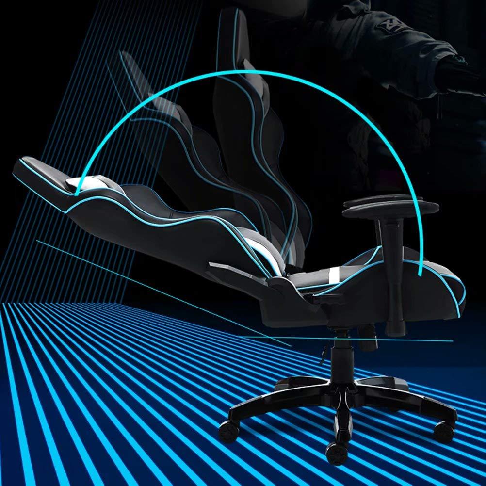 YCYHMYF spelstol hög ände ergonomisk nacke korsrygg stöd armstöd lutning dator skrivbord kontor verkställande läder racerstol Vitt